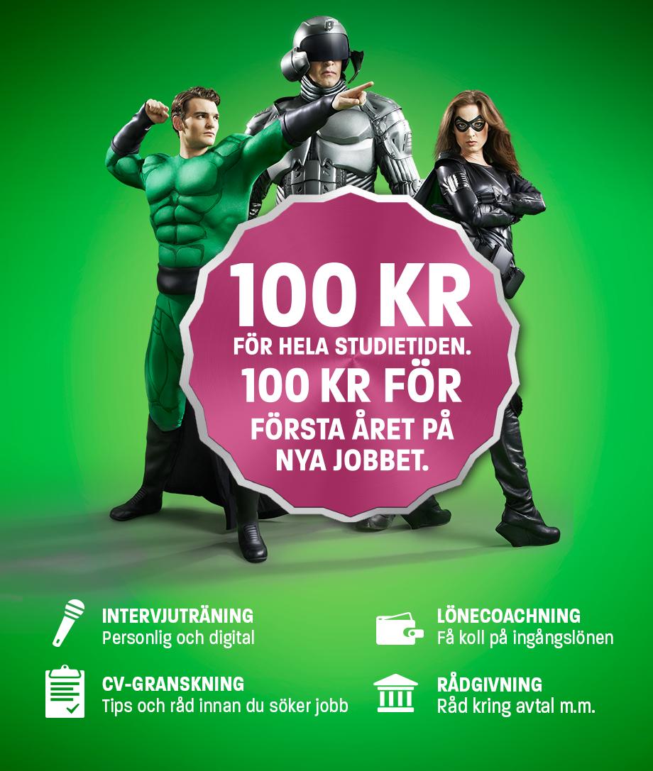 Sistaårsstudenter kampanj 100 kr