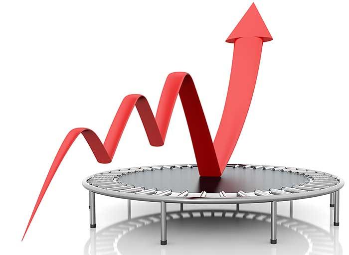 Uppåtgående graf och studsmatta