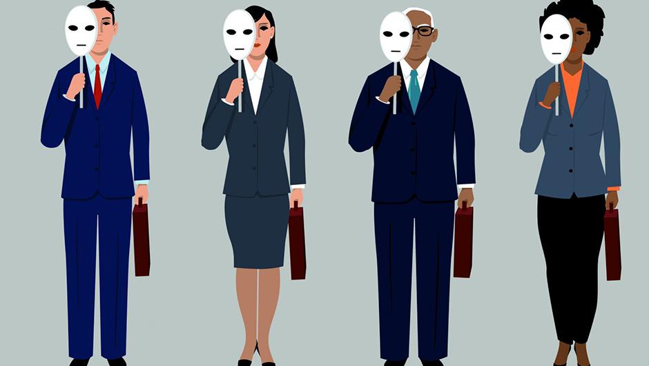 Personer som håller i masker